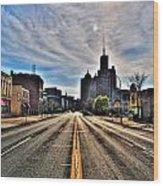 View Down Broadway Into Downtown Buffalo Ny Vert Wood Print