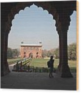 View From Inside The Red Fort With Tourist Wood Print