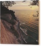 View Looking Down Cliffs At Sunset Wood Print