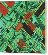 View Of A Circuit Board From An Alarm System Wood Print by Chris Knapton