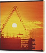 View Of A Construction Site At Sunset Wood Print