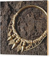 View Of A Golden Celtic Necklace During Excavation Wood Print by Volker Steger