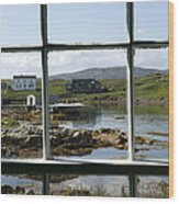 View Of A Harbor Through Window Panes Wood Print