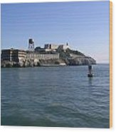 View Of Alcatraz From A Boat That Is Leaving The Island Wood Print