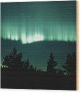 View Of An Aurora Borealis Display Wood Print