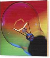 View Of An Lit Electric Light Bulb Wood Print