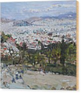 View Of Athens From Acropolis Wood Print
