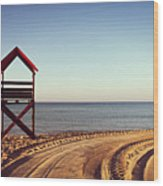 View Of Beach Wood Print