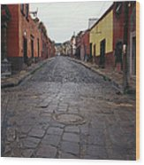 View Of Cobblestone Streets In San Wood Print