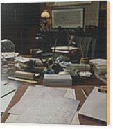 View Of Darwin's Desk At Down House Wood Print by Volker Steger