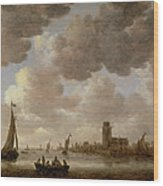 View Of Dordrecht Downstream From The Grote Kerk Wood Print