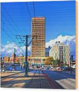 View Of Downtown Buffalo From The Tracks Wood Print