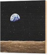 View Of Earth From The Moons Surface Wood Print