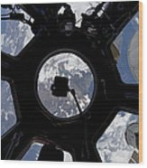 View Of Earth Through The Cupola Wood Print