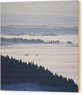 View Of Fog-covered Willamette Valley Wood Print