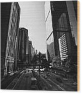 View Of Gloucester Road Wan Chai Skyscrapers Including Revenue Immigration Tower Building Hong Kong Wood Print by Joe Fox