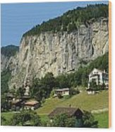 View Of Greenery And Waterfalls On A Swiss Cliff Wood Print