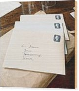 View Of Letters Addressed To Darwin On His Desk Wood Print