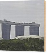View Of Marina Bay Sands And Esplanade Building In Singapore Wood Print