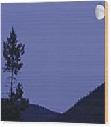 View Of Moon And Mountains, Gaspesie Wood Print