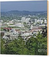View Of Portland Oregon From Pittock Mansion  Wood Print by Sherry  Curry