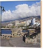 View Of Puerto De La Cruz From Plaza De Europa Wood Print