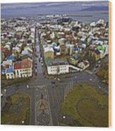 View Of Reykjavik Wood Print