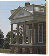 View Of South Portico At Poplar Forest Wood Print