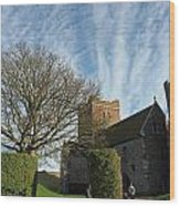 View Of St Mary Church And Clouds In Dover Castle Wood Print