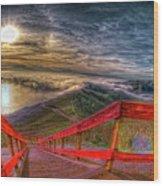 View Of Sun Into Sea At Marin Headlands Wood Print