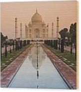 View Of Taj Mahal Reflecting In Pond Wood Print