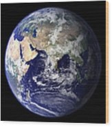 View Of The Earth From Space Showing Wood Print by Stocktrek Images