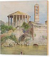 View Of The Sbocco Della Cloaca Massima Rome Wood Print