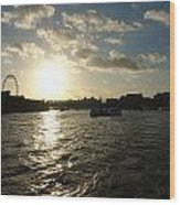 View Of The Thames At Sunset With London Eye In The Background Wood Print