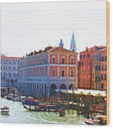 View Of Venice's Market Wood Print by Christiane Kingsley