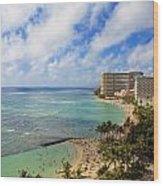 View Of Waikiki And Beach Wood Print