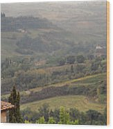 View Over The Tuscan Hills From San Gimignano Italy Wood Print