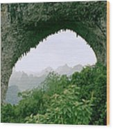 View Through Moon Hill In Guangxi In China Wood Print