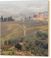 Villa On A Hill In Tuscany Wood Print