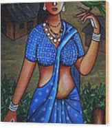 Village Girl Wood Print by Johnson Moya