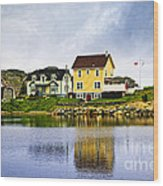 Village In Newfoundland Wood Print by Elena Elisseeva