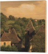 Village Of Castelnau Bretenoux In Sepia Wood Print