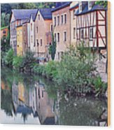Village Reflections In Luxembourg I Wood Print by Greg Matchick