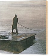 Villager On Raft Crosses Lake Phewa Tal Wood Print