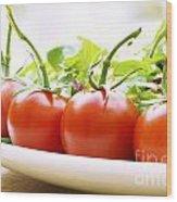 Vine Tomatoes On A Salad Plate Wood Print