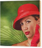 Vintage - Red Hat Lady Wood Print