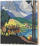 Vintage Austrian Travel Poster Wood Print