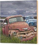Vintage Auto Junk Yard Wood Print