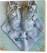 Vintage Baby Shoes And Diaper Pin On Handkercheif Wood Print