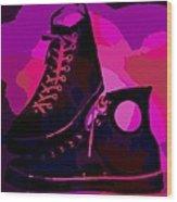 Vintage Basketball Shoes Wood Print